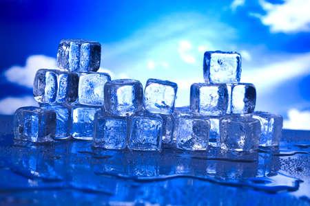 Blue and shiny ice cubes  photo