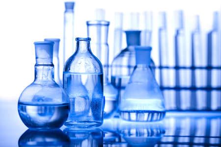 Pharmaceutical research: Laboratory glass Stock Photo
