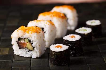 japanese culture: Rolls of sushi