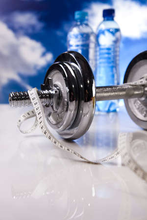 Measuring of dumbbell Stock Photo - 12140821