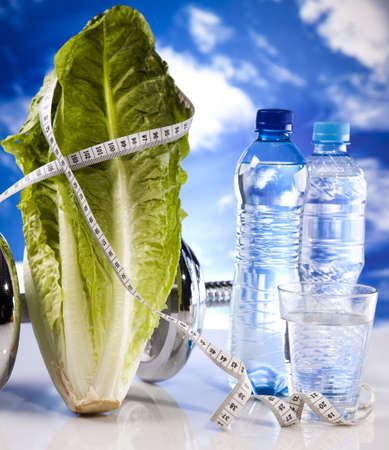 Bottle water and Fitness, and blue sky Stock Photo - 12140996