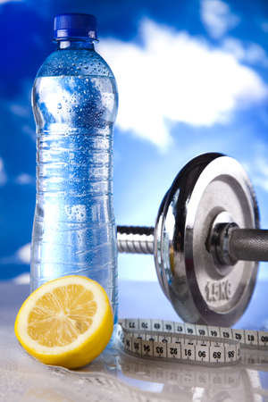 Bottle water and Fitness, and blue sky Stock Photo - 12141179