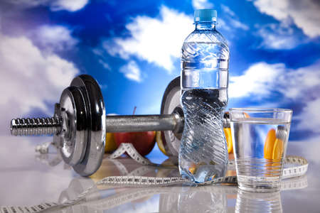 Fitness, dumbell and blue sky  photo