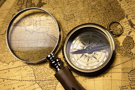 Compass, Old map Stock Photo - 13503223
