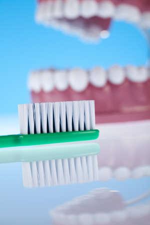 clean arteries:  Teeth, Dental health care objects  Stock Photo