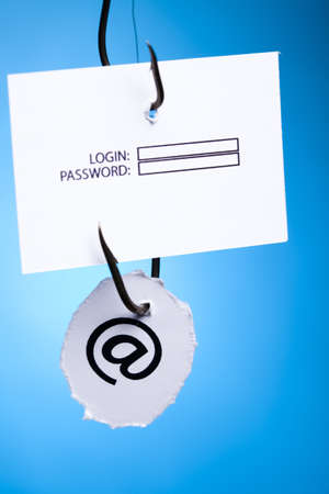 color image fish hook: Log-in and password on hook Stock Photo