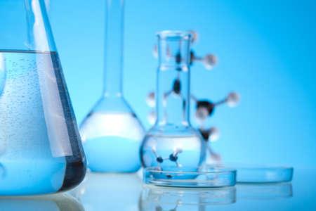Blue chemistry vials, Laboratory photo