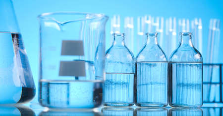 Blue chemistry vials, Laboratory photo