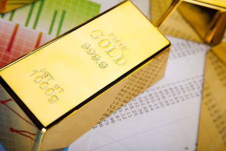 goldbars:  Financial indicators,Chart, Gold bar Stock Photo