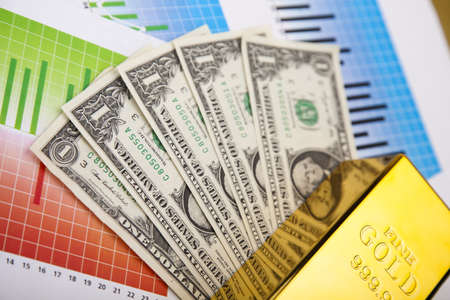Financial indicators,Chart, Gold bar Stock Photo