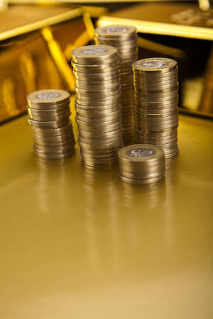 Coins and gold bars, Finance Concept Stock Photo - 13342259