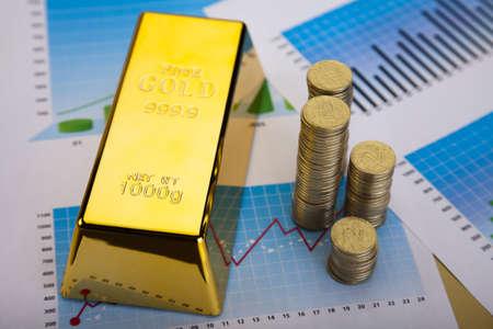 goldbars: Financial indicators,Chart, Gold bar Stock Photo