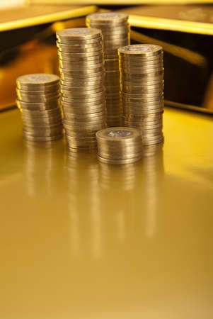 Coins and gold bars, Finance Concept Stock Photo - 13342184