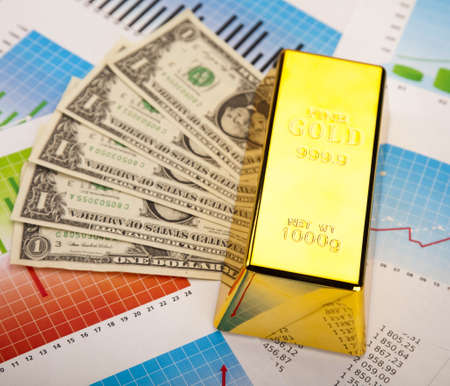 Financial indicators,Chart, Gold bar Stock Photo - 13329865