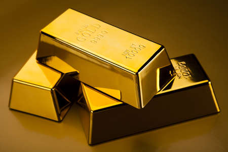 numismatist: Gold bars Stock Photo