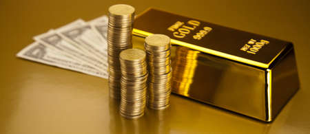 Gold and money Stock Photo - 13329849