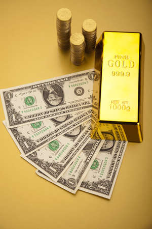 Gold and money Stock Photo - 13340372