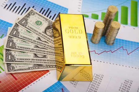 Financial indicators,Chart, Gold bar Stock Photo - 13342286