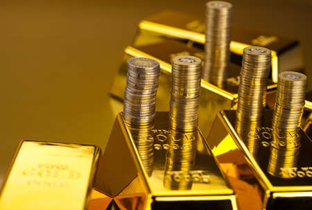 gold bullion: Coins and gold bars, Finance Concept