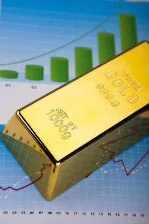 Financial indicators,Chart, Gold bar Stock Photo - 13342182