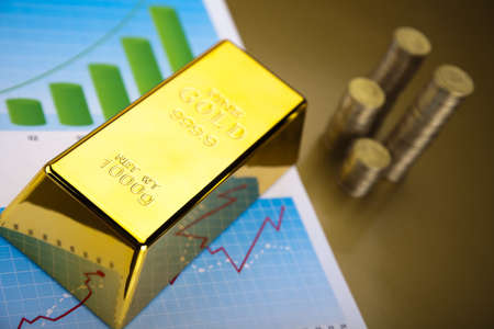 Coins and gold bars, Finance Concept Stock Photo - 13329971
