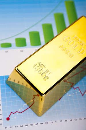 Financial indicators,Chart, Gold bar Stock Photo - 13329944