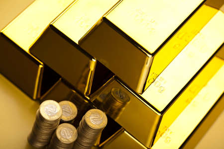 goldbars: Coins and gold bars, Finance Concept