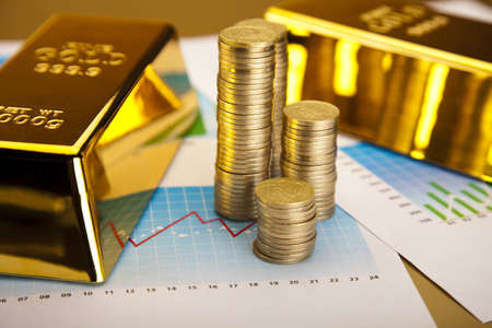 Coins and gold bars, Finance Concept Stock Photo - 13342249