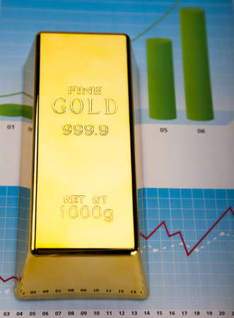 Financial indicators,Chart, Gold bar Stock Photo - 13329957