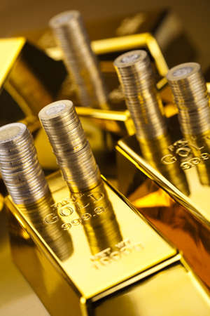 Gold bars and coins Stock Photo - 13342241