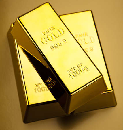 gold ingot: Gold bullions Stock Photo
