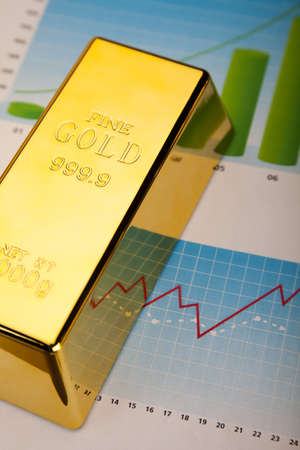 Financial indicators,Chart, Gold bar Stock Photo - 13342192