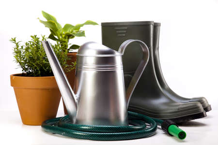 Garden boots with tool, plant Stock Photo - 14226839