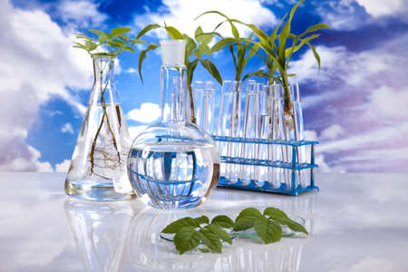 Laboratory  on blue sky background  photo