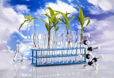 Laboratory  on blue sky background  photo