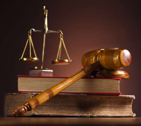 Law and justice concept, wooden gavel photo