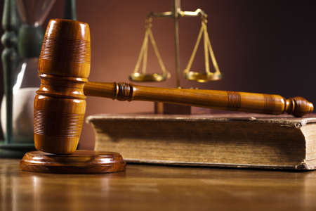 legally: Wooden gavel barrister, justice concept