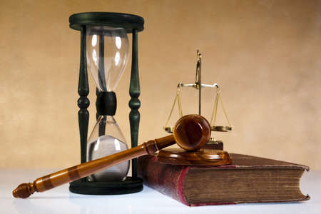 lawyer symbol: Law theme, mallet of judge, wooden gavel