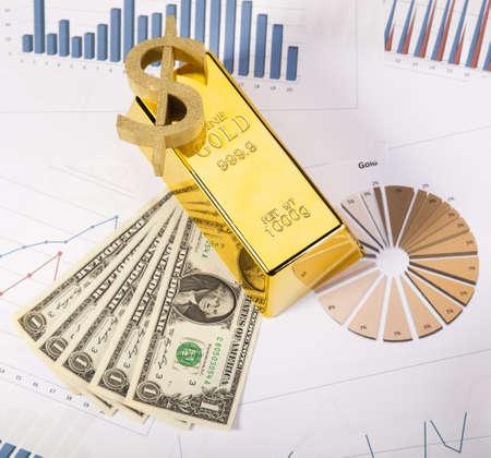 goldbars: Financial indicators,Chart,Gold bar,money Stock Photo
