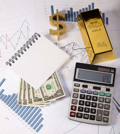 numismatist: Office Concept, Gold bar Stock Photo