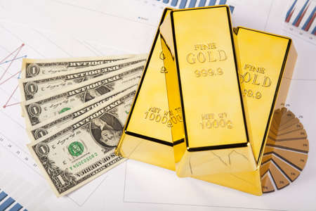 Financial indicators,Chart,Gold bar,money Stock Photo - 14219125