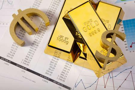 futures: Financial indicators,Chart,Gold bar,money Stock Photo