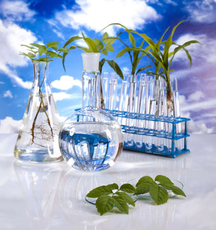 pipeptte: Laboratory  on blue sky background