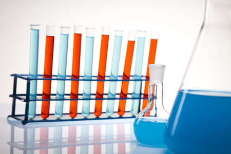 Laboratory flasks with fluids of different colors  Stock Photo - 14218275