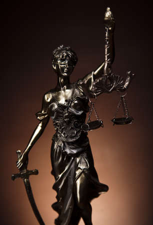 trial: Antique statue of justice, law