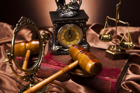 Law theme, mallet of judge, wooden gavel Stock Photo - 14218685
