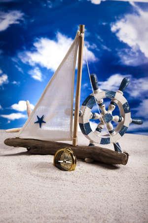 Sail boat on beach Background photo