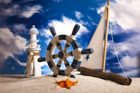 Concept de voiliers, vacances, été, plage de Fond
