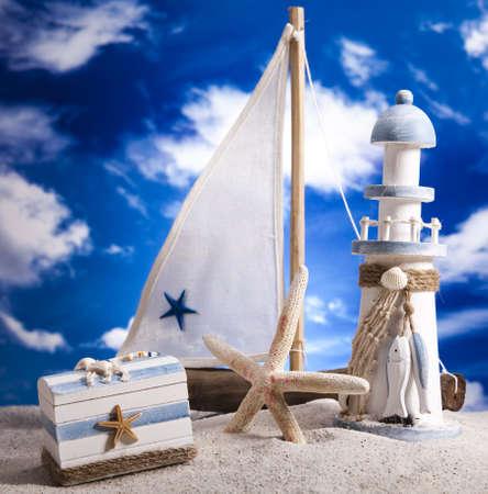 Summer Beach, Sailboat, Lighthouse concept photo