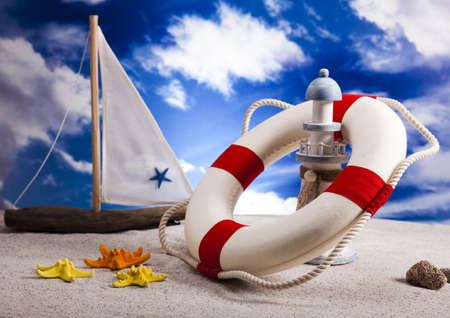 float: Life buoy on the beach